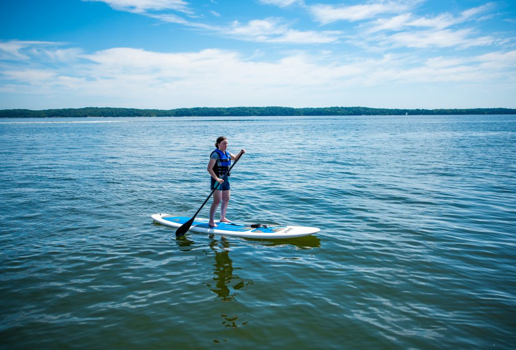 Girl Paddle Boarding on KY Lake